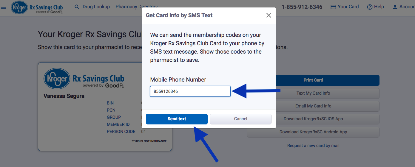 How do I access my temporary Kroger Rx Savings Club card